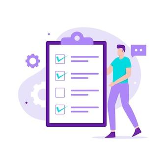 목록 일러스트레이션 방문 페이지 개념을 수행합니다. 웹사이트, 방문 페이지, 모바일 애플리케이션, 포스터 및 배너용 일러스트레이션