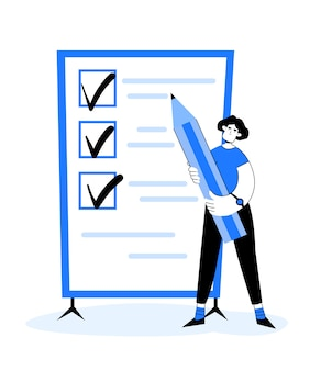 漫画スタイルでリストを行う。フラットスタイルで黒板の近くに彼女の手に鉛筆を持つ女性。