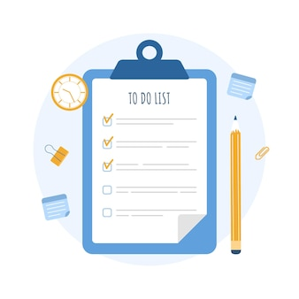 테이블의 클립 보드에 목록을 작성합니다. 사업 계획, 조직 및 목표 달성.