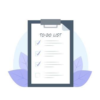 Список дел на планшете в плоском стиле