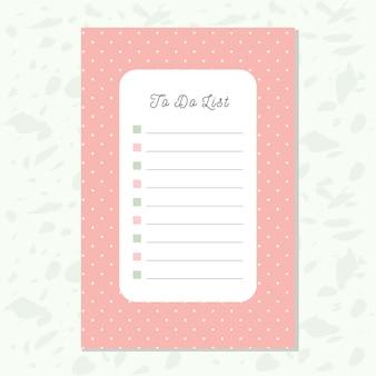 ピンクのドットパターンでリスト紙をする