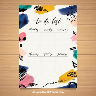 To do list template in watercolor style