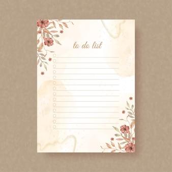 모서리 수채화 배경에 가을 꽃으로 목록을 작성하려면