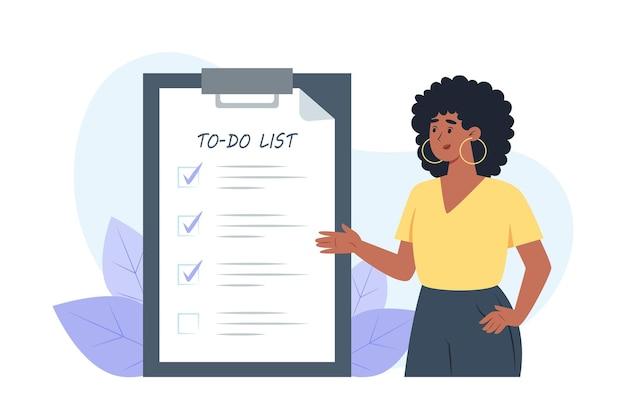 Список дел, молодая женщина ставит галочки перед выполненными задачами
