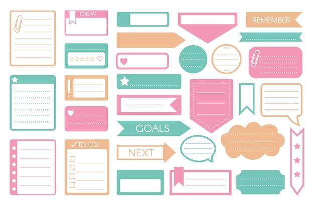 할 일 스티커. 할 일 목록, 알림, 목표 메모, 메모 스티커, 주간 일일 플래너 아이콘이 흰색으로 설정됩니다. 연설 거품 채팅 창, 테이프, 화살표, 종이 페이지 시트 모양 그림