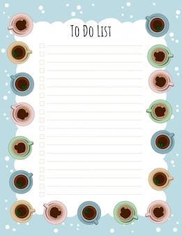 紅茶とコーヒーカップのウィークリープランナーとto doリスト。