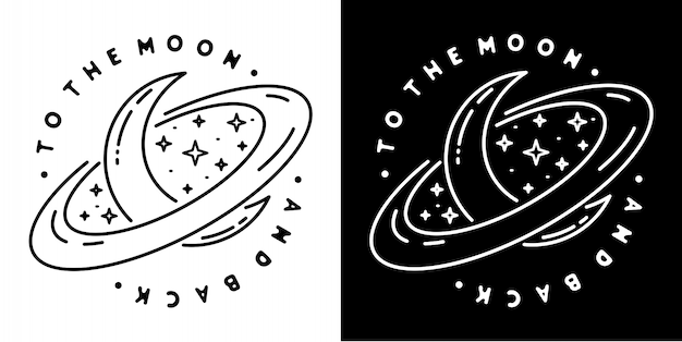На луну и дизайн значка назад