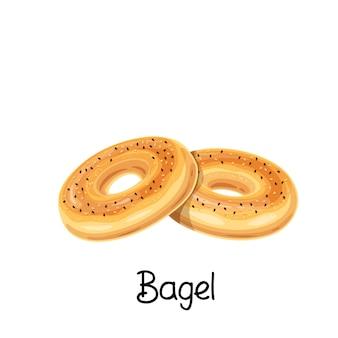 Значок тост бублик. французские хлебобулочные изделия цветные иллюстрации.
