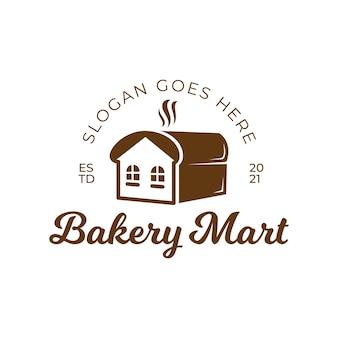ハウスマートマーケットヴィンテージレトロロゴデザインのトーストパンベーカリーショップ