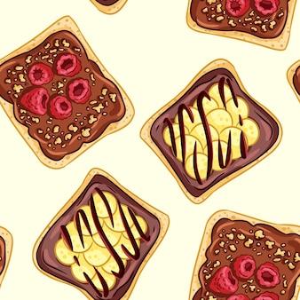 トーストパンサンドイッチコミックスタイルのシームレスなボーダーパターン。チョコレートまたはピーナッツバターの壁紙とサンドイッチ。朝食食品背景テクスチャタイル