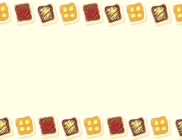 トーストパンサンドイッチコミックスタイルのシームレスパターン。チョコレートまたはピーナッツバターとバナナの落書きのサンドイッチ。朝食の食べ物。文字形式の装飾背景テクスチャタイル。テキストのためのスペース
