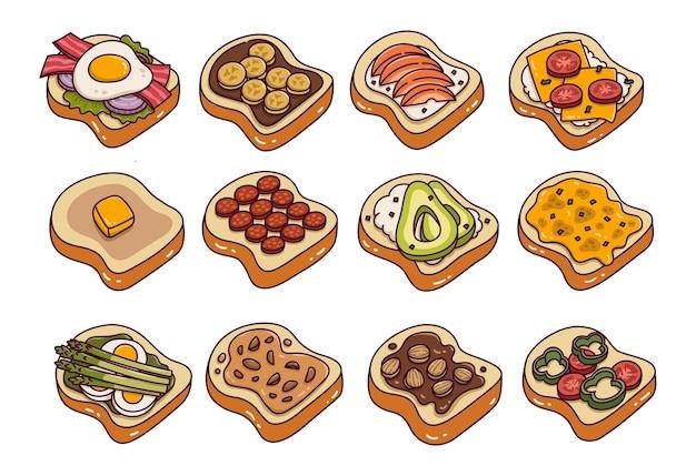 Топпинги для тостов каракули векторные иллюстрации