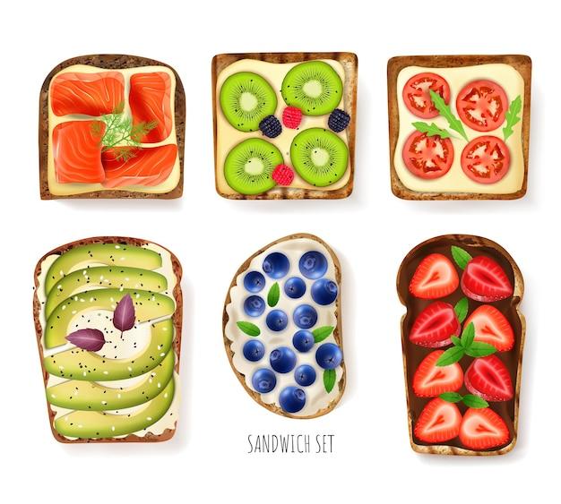 Набор начинок для тостов с ягодами, реалистичная изолированная иллюстрация
