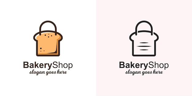 ラインアートバージョンのベーカリーショップロゴテンプレート用バッグ付きトーストパン
