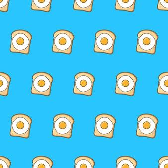 Тосты с яйцом бесшовные модели на синем фоне. еда тема векторные иллюстрации