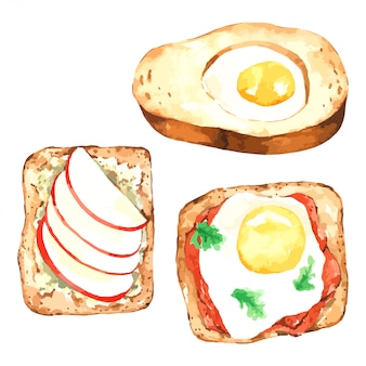 Toast bread with watercolor sandwich breakfast set with egg and apple