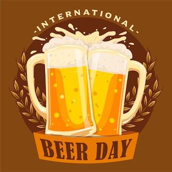 世界ビールの日を祝うためのビールバッジのトーストグラス