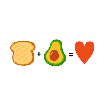 Toast plus avocado equals love. cute funny poster,card illustration. vector  cartoon illustration icon. isolated on white background. toast with avocado, funny mathematical equation, concept