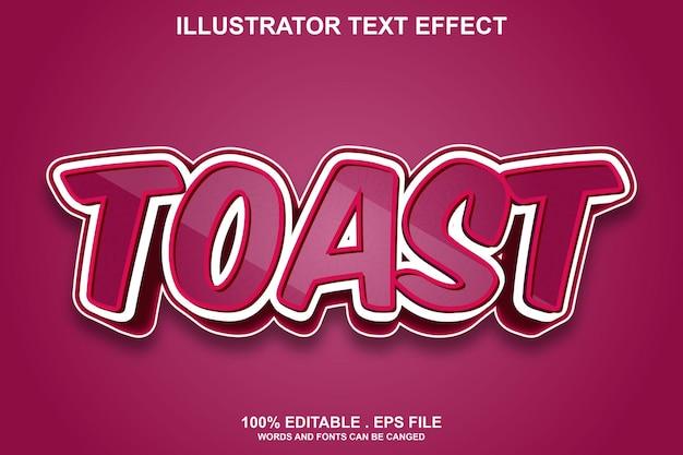 Текстовый эффект тоста редактируемый