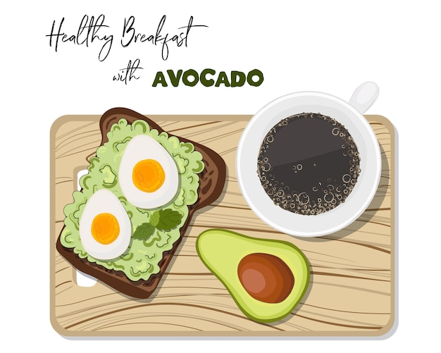 Toast with avocado and boiled egg, cup of coffee.