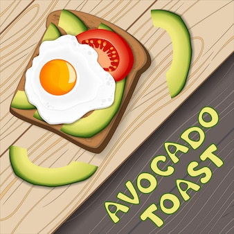 Toast with avocado and fried egg, with slices of tomato on bread. healthy diet food