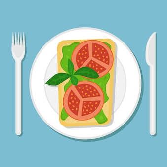 Toast with avocado puree and tomato slices on a plate. flat  illustration. top view.