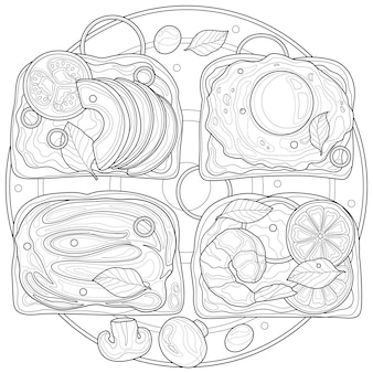 Тост с яйцом, авокадо и креветками. раскраска антистресс для детей и взрослых. иллюстрация, изолированные на белом фоне. стиль дзен клубок. черно-белый рисунок