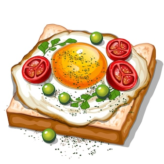 Тост с яичницей, помидорами черри, вид сверху