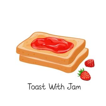 잼과 딸기로 토스트하십시오. 프렌치 프라이드 토스트 두 조각. 아침 식사 개념.