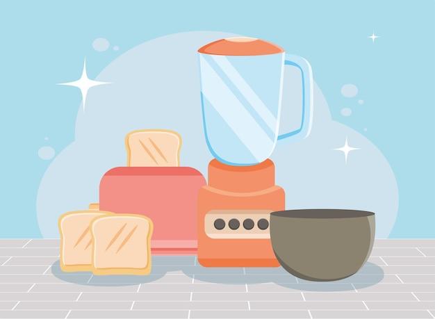 Toaster and blender kitchen appliances