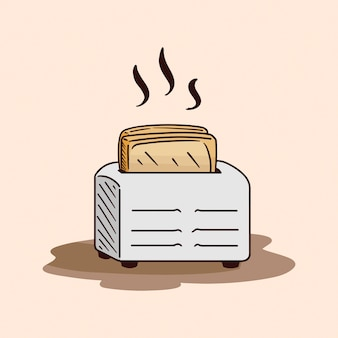 Toaster and bread in cartoon style