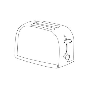 Toaster continuous line drawing one line art of home appliance kitchen electrical make croutons