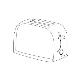 トースター連続線画家電キッチン電気メイククルトンのワンラインアート