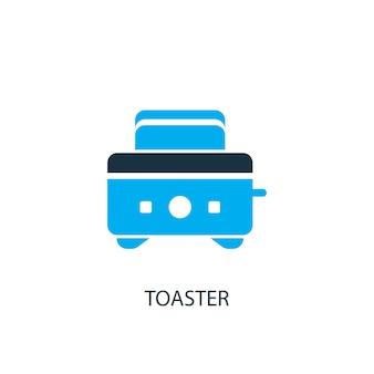トースターアイコン。ロゴ要素のイラスト。 2色コレクションのトースターシンボルデザイン。シンプルなトースターのコンセプト。 webおよびモバイルで使用できます。