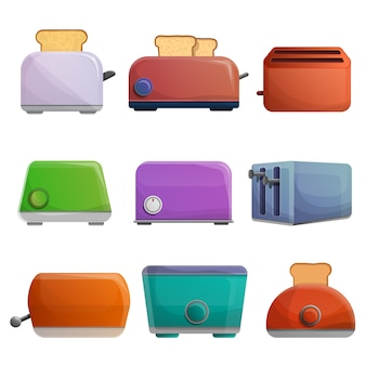 Toaster icon set, cartoon style