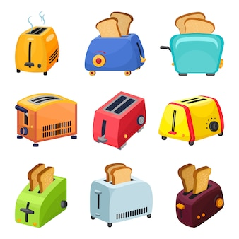 Toaster icons set, cartoon style