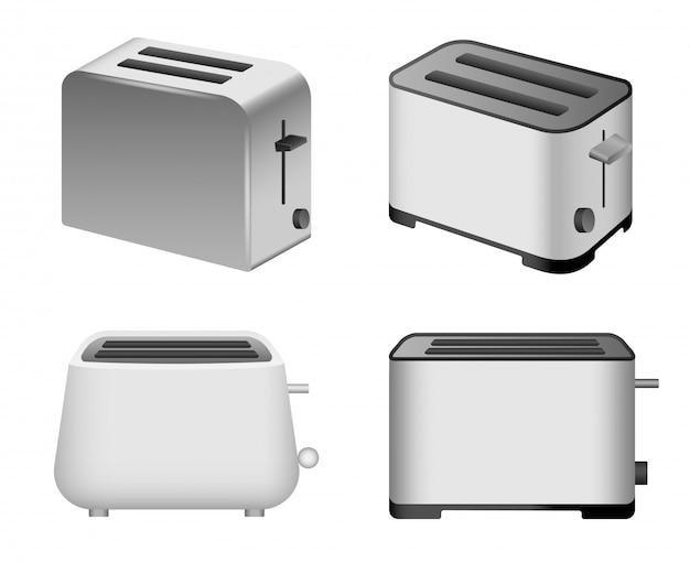 トースターのアイコンを設定します。 webデザインの白い背景で隔離のトースターベクトルアイコンの現実的なセット Premiumベクター