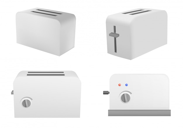 Toaster icons set, realistic style