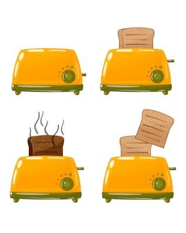 Тостер в разных положениях, включен, выключен, с готовыми тостами.