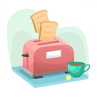 Toaster in isometry with pieces of bread flying out of it and a cup of tea.