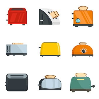 Toaster kitchen bread oven icons set