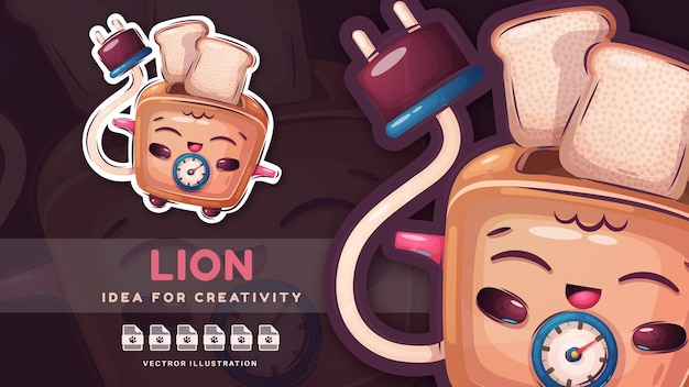 The toaster prepares delicious bread - cute sticker. vector eps 10