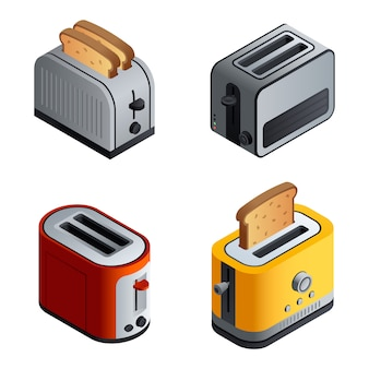 Toaster set. isometric set of toaster vector