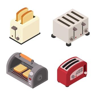 Toaster set, isometric style