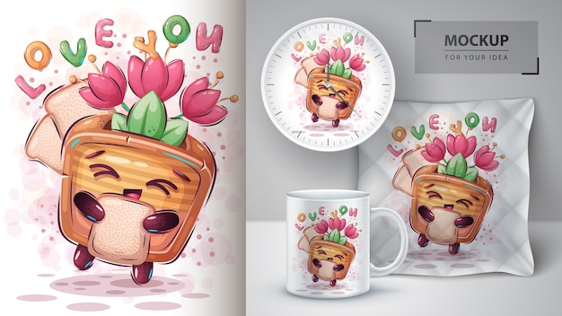 Toaster with tulip poster and merchandising