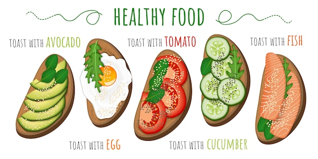 Toasts with avocado, tomato, fried egg, cucumber and fish