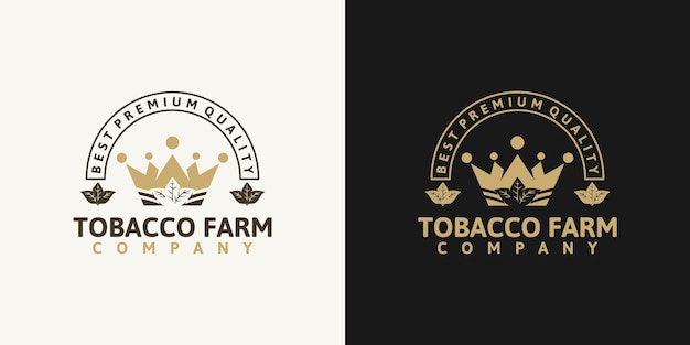 Tobacco farm,vintage logo with line art, for business reference