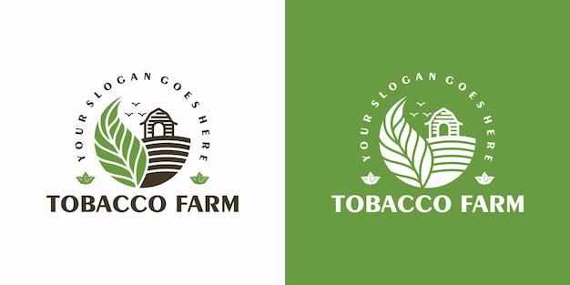 담배 농장, 라인 아트가 있는 빈티지 로고, 비즈니스 참조