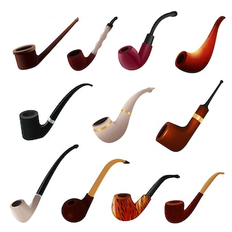 Tobacco pipe vintage nicotine smoker object classic retro smoking-pipe product illustration set of realistic old smoke accessory isolated on white background