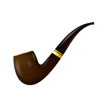 Tobacco pipe on a white